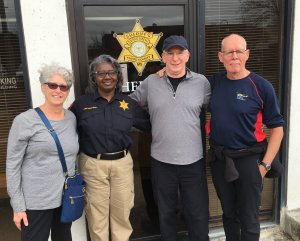 L-R: Barbara Morganstern Sammons, Deputy Jackie Hudson, Warren Mersereau, Tito Craige at Yazoo County Sheriff's Office
