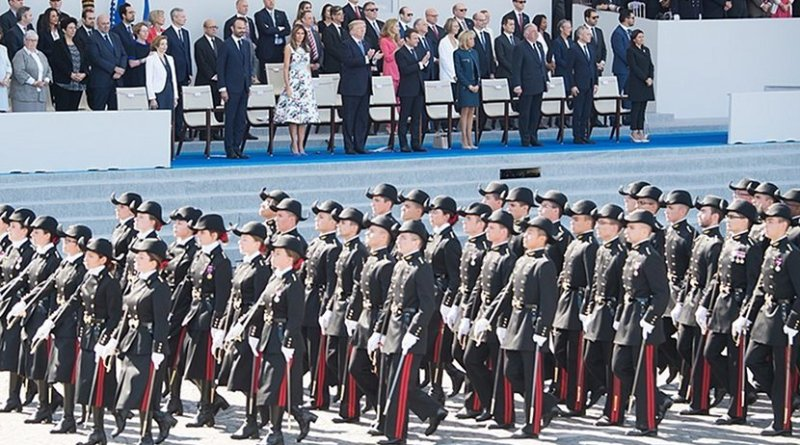 US President Donald Trump attends French National Day Parade, July 14, 2017. Official White House Photo by Andrea Hanks.