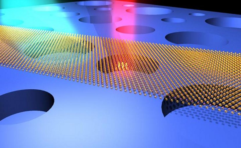 Illustration of ultrasensitive optical interrogation of the motions of atomically thin drumhead nanoelectromechanical resonators (made of atomic layers of MoS2 semiconductor crystals). Credit Case Western Reserve University