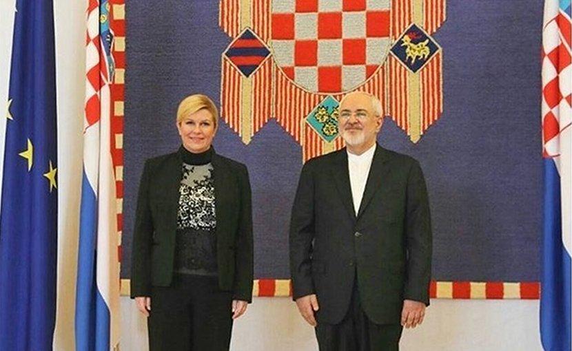 Iranian Foreign Minister Mohammad Javad Zarif with Croatian President Kolinda Grabar-Kitarovic. Photo Credit: Tasnim News Agency.
