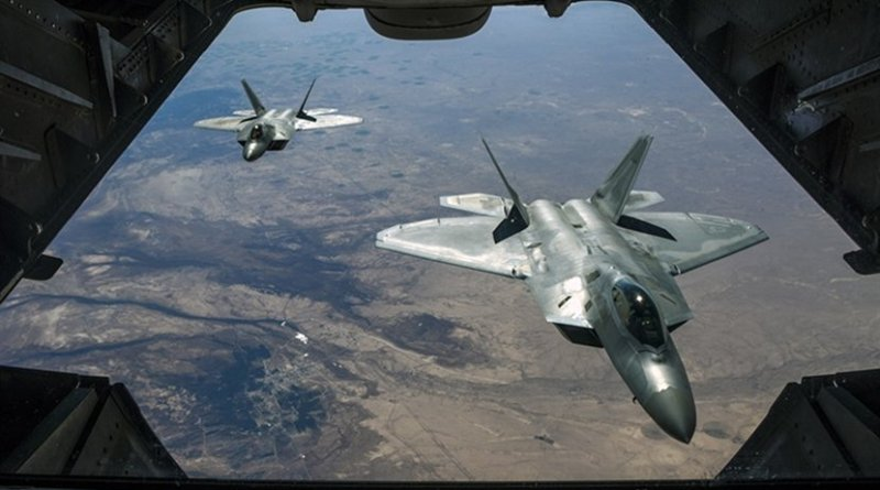 File photo of two Air Force F-22 Raptors fly over Syria, while supporting Operation Inherent Resolve. Air National Guard photo by Staff Sgt. Colton Elliott