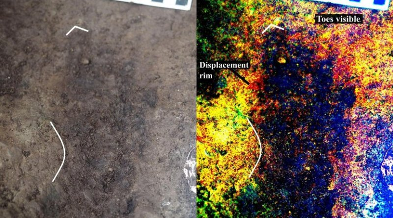 Photograph of track #17 beside digitally-enhanced image of same feature using the DStretch plugin for ImageJ. Note the toe impressions and arch indicating that this is a right footprint. Credit Duncan McLaren