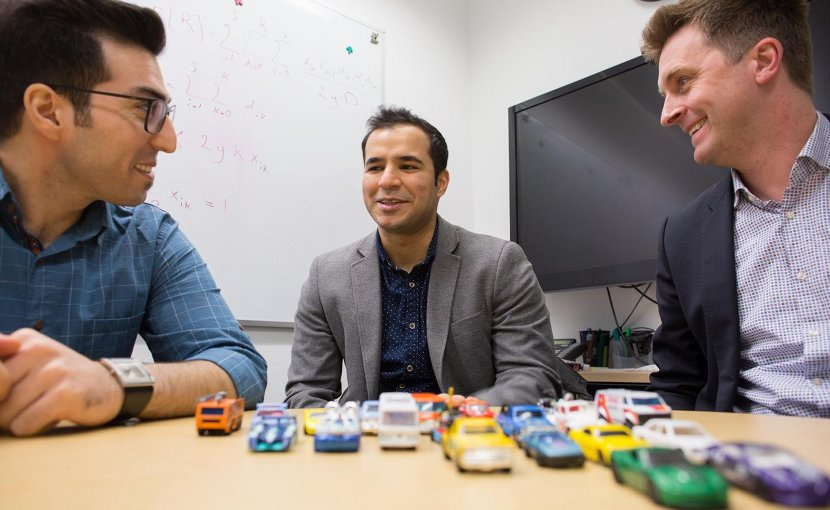 Left to right: Sina Bahrami, Mehdi Nourinejad and Professor Matthew Roorda designed an algorithm to optimize the design of parking lots for autonomous vehicles, increasing their capacity by an average of 62 per cent. Credit Roberta Baker