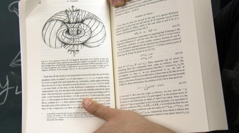 A diagram depicting a twistor -- an extended entity in space and time that can be thought of as a 2-dimensional light ray. Credit Penrose, R., & Rindler, W. (1986). Spinors and Space-Time (Cambridge Monographs on Mathematical Physics). Cambridge: Cambridge University Press.
