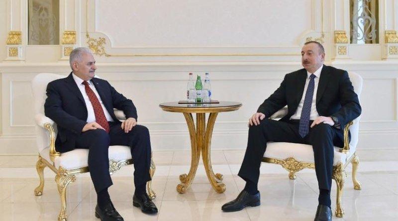 Azerbaijani President Ilham Aliyev meets with Turkish Prime Minister Binali Yildirim. Photo Credit: Azerbaijan government.