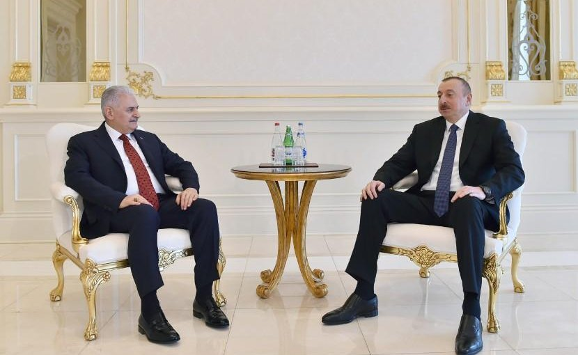 Azerbaijani President Ilham Aliyev meets with Turkish Prime Minister Binali Yildirim. Photo Credit: Azerbaijan government.