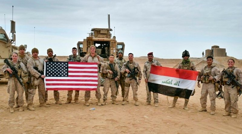 U.S. Marines deployed in support of Combined Joint Task Force Operation Inherent Resolve pose with Iraqi service members in Iraq, Nov. 27, 2017. Marine Corps photo by Capt. Christian Lopez