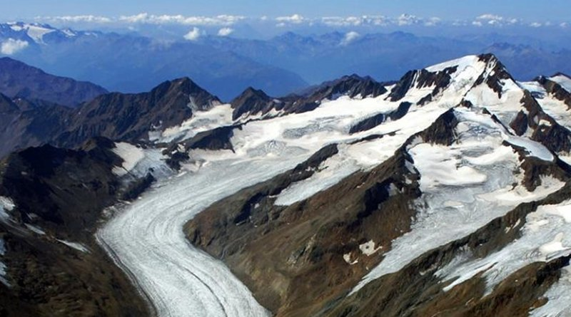 The photo shows a picture of the Hintereisferner and the Weisskugel in Tyrol, which was taken during a photo flight of the Institute for Atmospheric and Cryospheric Sciences of the University of Innsbruck at the end of August 2015. The two upper side glaciers (shown on the right) were still connected to the Hintereisferner just a few years ago. The snow deposits are no longer sufficient to keep the glacier in balance. Credit Institute of Atmospheric and Cryospheric Sciences, University of Innsbruck