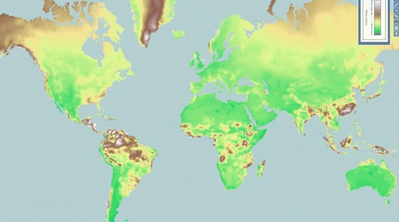 UC's new ClimateEx map uses predictive models to display where the world could see the most and least climate change over the next 50 years. Green areas could see least change while white and brown areas are predicted to see the most. Credit Tomasz Stepinski/ClimateEx