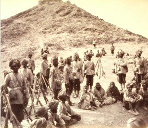 Photo of 45th Rattray's Sikhs with prisoners from the second Second Anglo-Afghan War 1878. Photo by John Burke.
