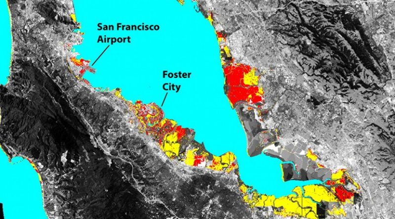 The San Francisco Bay shoreline, where yellow indicates areas where a projected rise in sea level (SLR) will result in flooding by 2100. Red shows where local land subsidence (LLS) will combine with SLR to increase the flood-prone areas. Credit ASU/Manoochehr Shirzaei