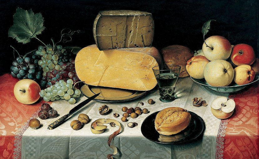 Still-Life with Fruit, Nuts and Cheese by Floris van Dyck (circa 1575–1651)