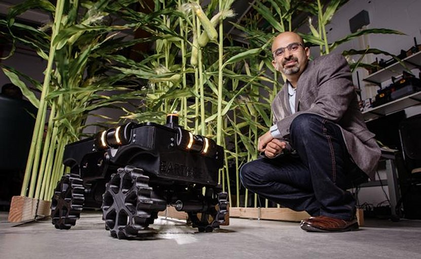 Agricultural and biological engineering professor Girish Chowdhary is leading a team that includes crop scientists, computer scientists and engineers in developing TerraSentia, a crop phenotyping robot. Credit L. Brian Stauffer
