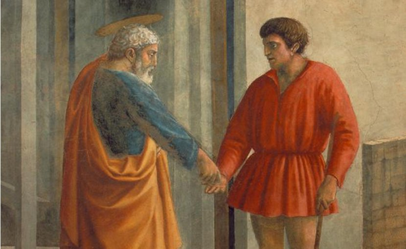 Detail of St Peter with the tax collector by Masaccio. Source: Wikipedia Commons.