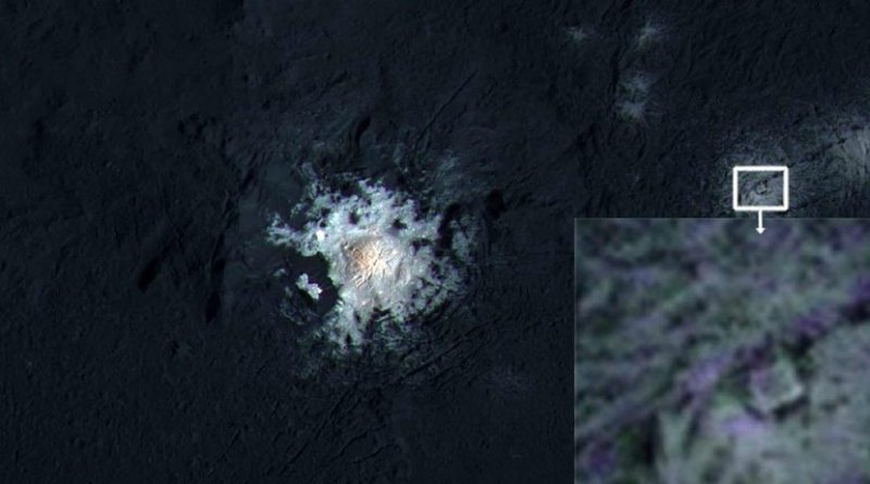 Inside the Occator crater of the dwarf planet Ceres appears a strange structure, looking like a square inside a triangle. Credit NASA / JPL-Caltech