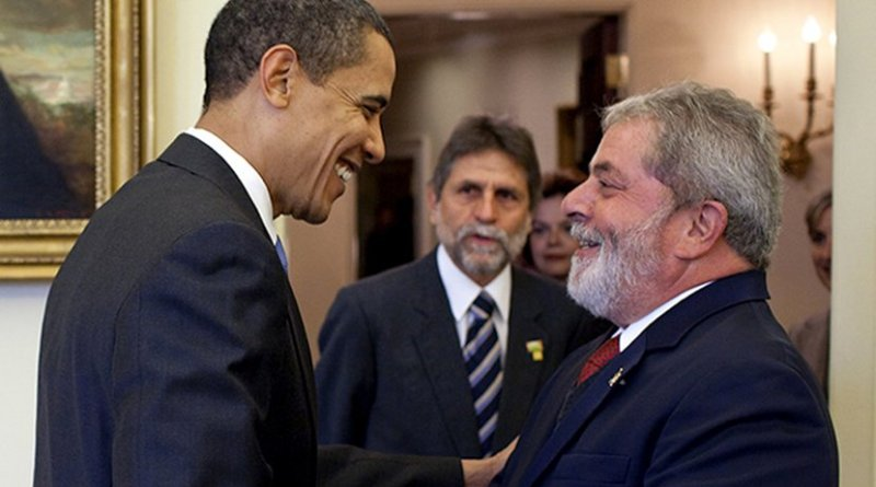 """U.S. President Barack Obama said that the then president of Brazil, Luiz Inacio """"Lula"""" da Silva, was """"the most popular president on earth"""". This picture shows Obama greeting him in the Oval Office in March 2009. Credit: White House."""