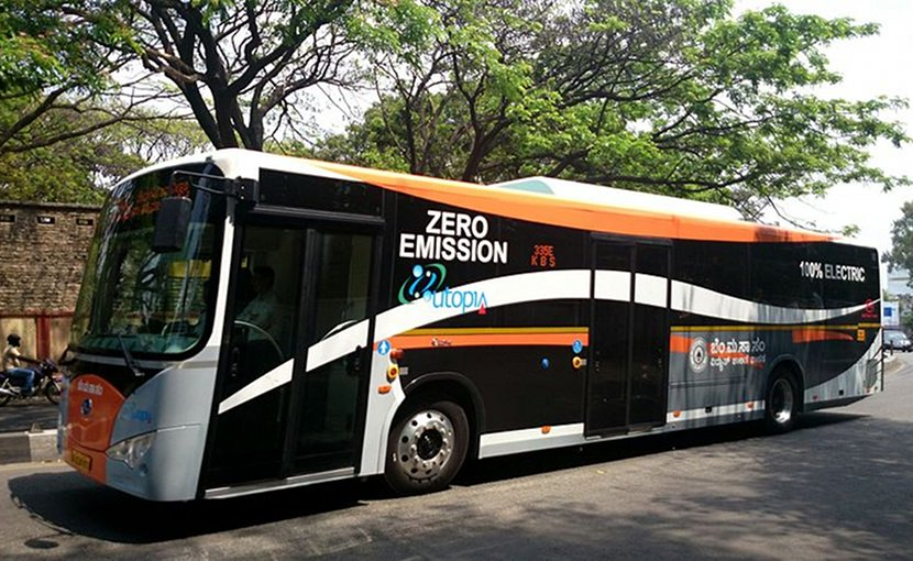 Electric Buses in Bangalore, India by BmTc. Photo by Ramesh NG, Wikimedia Commons.