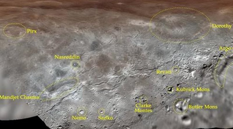 Map projection of Charon, the largest of Pluto's five moons, annotated with its first set of official feature names. With a diameter of about 1,215 km, the France-sized moon is one of largest known objects in the Kuiper Belt, the region of icy, rocky bodies beyond Neptune. Credit NASA/Johns Hopkins University Applied Physics Laboratory/Southwest Research Institute