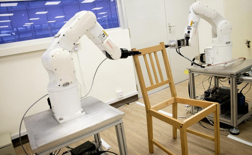 Using algorithms developed by the team, the robot plans a two-handed motion that is fast and collision-free. This motion pathway needs to be integrated with visual and tactile perception, grasping and execution. To make sure that the robotic arms are able to grip the pieces tightly and perform tasks such as inserting wooden plugs, the amount of force exerted has to be regulated. Credit NTU Singapore