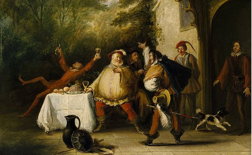 Pistol announcing to Falstaff the death of the King (John Cawse, c. 1820s)