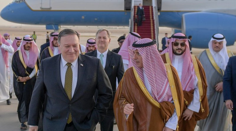 US Secretary Pompeo is greeted by Saudi Foreign Minister Adel al-Jubeir. Photo Credit: US State Department.
