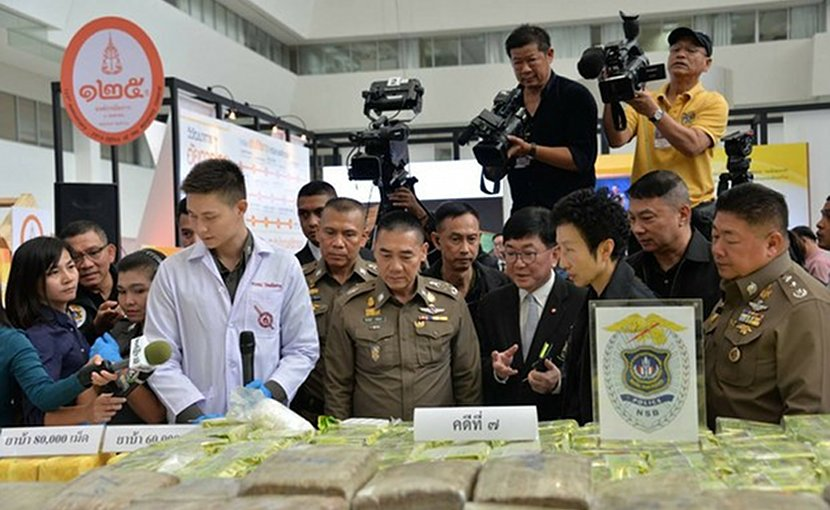Thai police display the drugs seized from March 25 to April 1 this year, during a news conference in Bangkok. Photo courtesy Narcotics Suppression Bureau