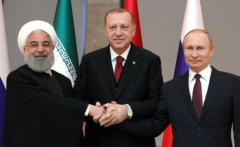 Russia's President Vladimir Putin with President of Iran Hassan Rouhani (left) and President of Turkey Recep Tayyip Erdogan before the trilateral meeting. Photo Credit: Kremlin.ru
