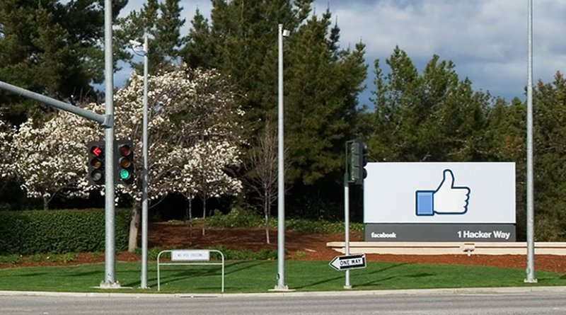 Entrance to Facebook Headquarters in California. Photo by LPS.1, Wikipedia Commons.
