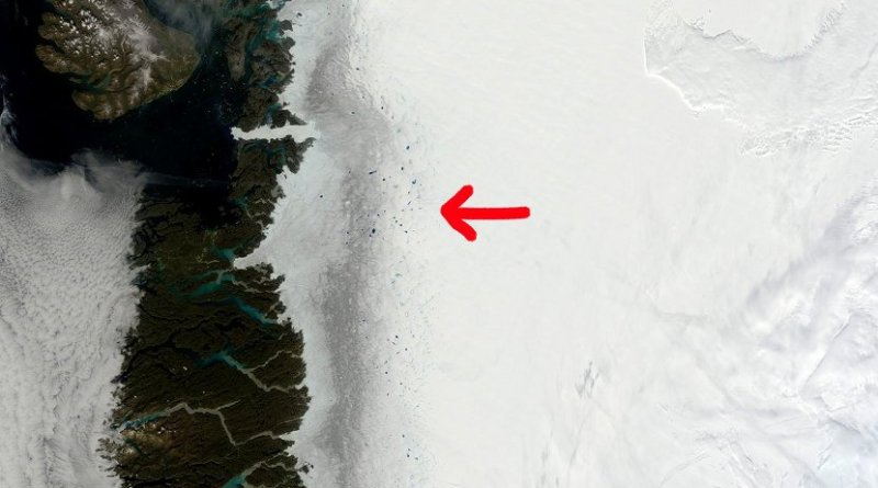 Satellite images of the dark zone of Greenland ice sheet clearly show the impure ice in remarkable contrast to the pristine snow. Satellites however miss out on details in the composition of the impurities. Credit MODIS/NASA