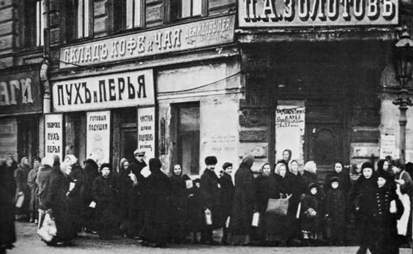 Bread line in Russia. Source: Wikipedia Commons.