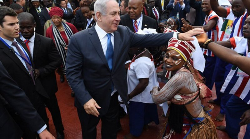 Israel's Prime Minister Benjamin Netanyahu arriving in Liberia. Photo Credit: Israel PM Office.