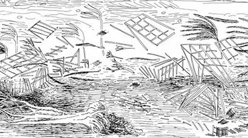 Artist's rendering of the destruction during the Hawai'i hurricane of 1871. Credit Businger et al., 2018.