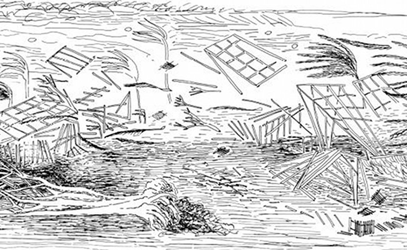 Artist's rendering of the destruction during the Hawai'i hurricane of 1871. Credit Businger et al., 2018.