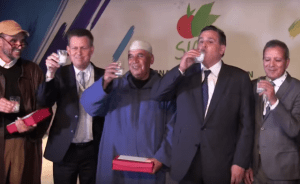 """Aziz Akhennouch reacts to the popular electronic boycott by drinking in public,  at SIAM agriculture fair,  his """"sour"""" milk unsold in groceries and super markets"""