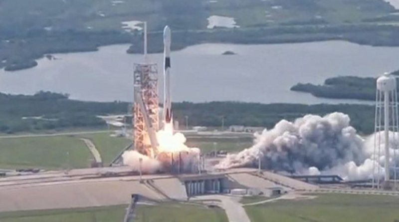 A SpaceX rocket carrying a Bangladeshi satellite blasts off from Kennedy Space Center in Cape Canaveral, Florida, in this screen grab from a video recording of the launch, May 11, 2018. SpaceX/YouTube