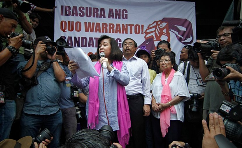 Philippine Chief Justice Maria Lourdes Sereno addresses her supporters after her ouster as the country's chief magistrate on May 11. (Photo by Vincent Go/ucanews.com)