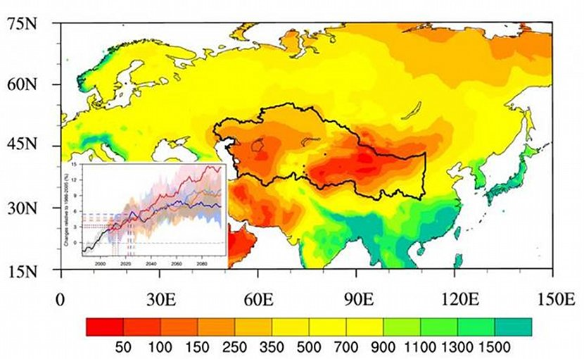 Observed annual mean precipitation amount (units: mm yr-1) over the Eurasian continent (shaded) and projected changes in annual mean precipitation over the Silk Road core region (bottom-left inset). The thick black lines in the main part of the figure indicate the Silk Road core region. Credit Ning Sun