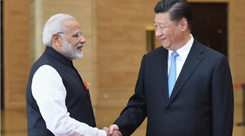 India's Prime Minister, Shri Narendra Modi meeting the President of the People's Republic of China, Mr. Xi Jinping. Photo Credit: India PM Office.