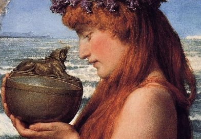 Detail of Lawrence Alma-Tadema's water-colour of an ambivalent Pandora, 1881. Wikipedia Commons.