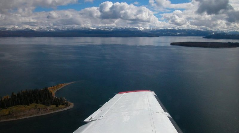 Yellowstone Lake is shown from a plane conducting a test flight in September 2004 as part of research by MSU electrical engineering professor Joe Shaw about the feasibility of using a laser technology to detect groups of lake trout. Photo courtesy Joe Shaw. Credit Joe Shaw, Montana State University