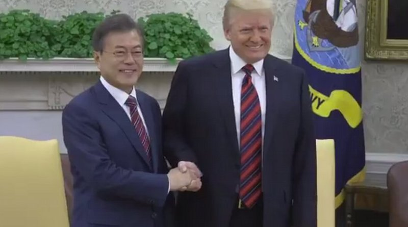 US President Donald Trump and President Moon of the Republic of Korea. Photo: White House video screenshot.