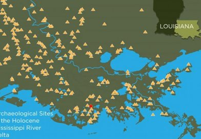 Hundreds of ancient mound sites, depicted here with yellow triangles, still survive in coastal Louisiana. A new study teases out the natural and human history of one of these mound-top villages, a site known as Grand Caillou, shown in red. Credit Graphic by Julie McMahon after Mehta and Chamberlain.