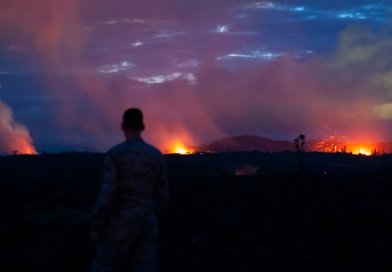 A member of the Hawaii Air National Guard observes three lava fissures at the Leilani Estates and Lanipuna Gardens subdivisions in Pahoa, Hawaii, May 15, 2018. More than 150 members of the Hawaii National Guard are assisting Hawaii County agencies as part of Joint Task Force 5-0. Air Force photo by Senior Airman John Linzmeier