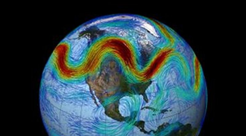 This is an illustration of the Northern Hemisphere's polar jet stream. Credit NASA's Goddard Space Flight Center
