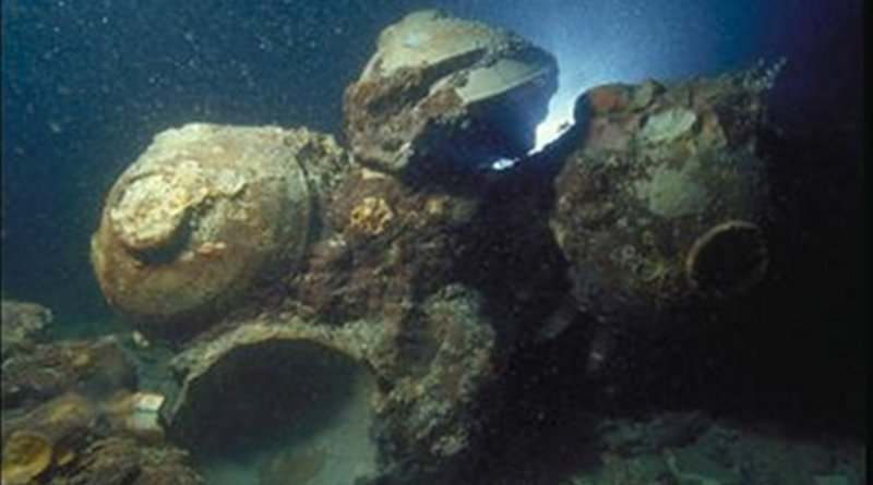 Chinese ceramic bowls in situ at the Java Sea Shipwreck site. Credit © The Field Museum, Anthropology, Photographer Pacific Sea Resources