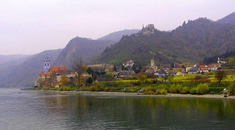 The Danube River flows past Durnstein, Austria.