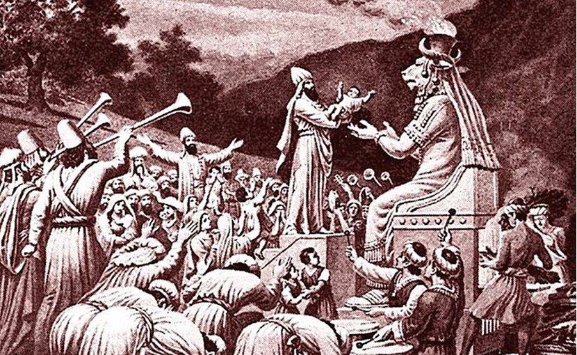 Artist's view of a sacrifice to Moloch in Bible Pictures with brief descriptions by Charles Foster, 1897. Source: WIkimedia Commons.