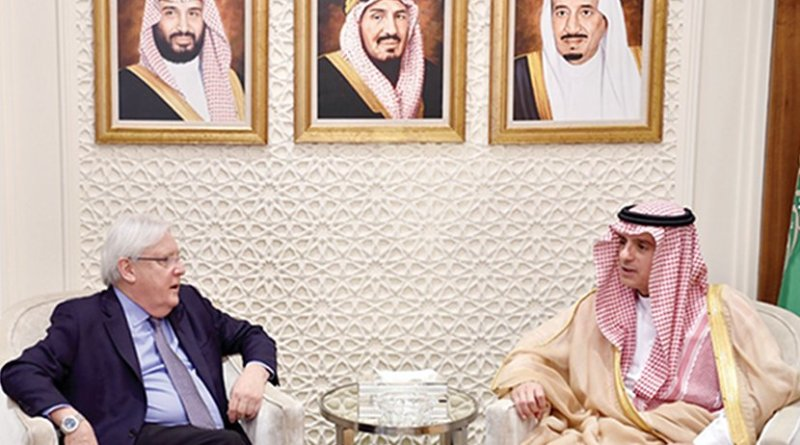 Saudi Arabia's Foreign Minister Adel Al-Jubeir holds talks with Martin Griffiths, UN envoy to Yemen, in Riyadh on Wednesday. (SPA)