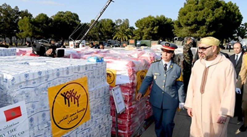 Morocco's King Mohammed VI views aid shipment being sent to Palestinians.