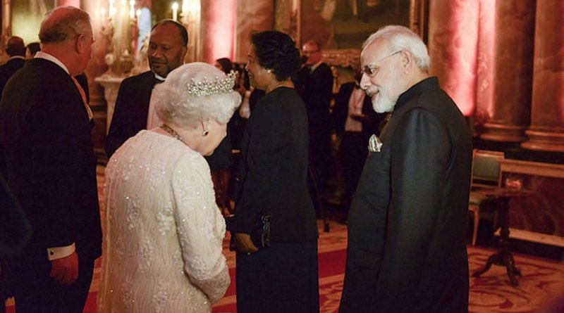 India's Prime Minister Modi with Queen Elizabeth II, the head of the Commonwealth. Credit: CHOGM.